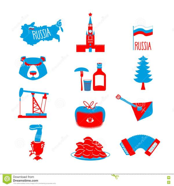 Russia Symbol Set Russian National Character State