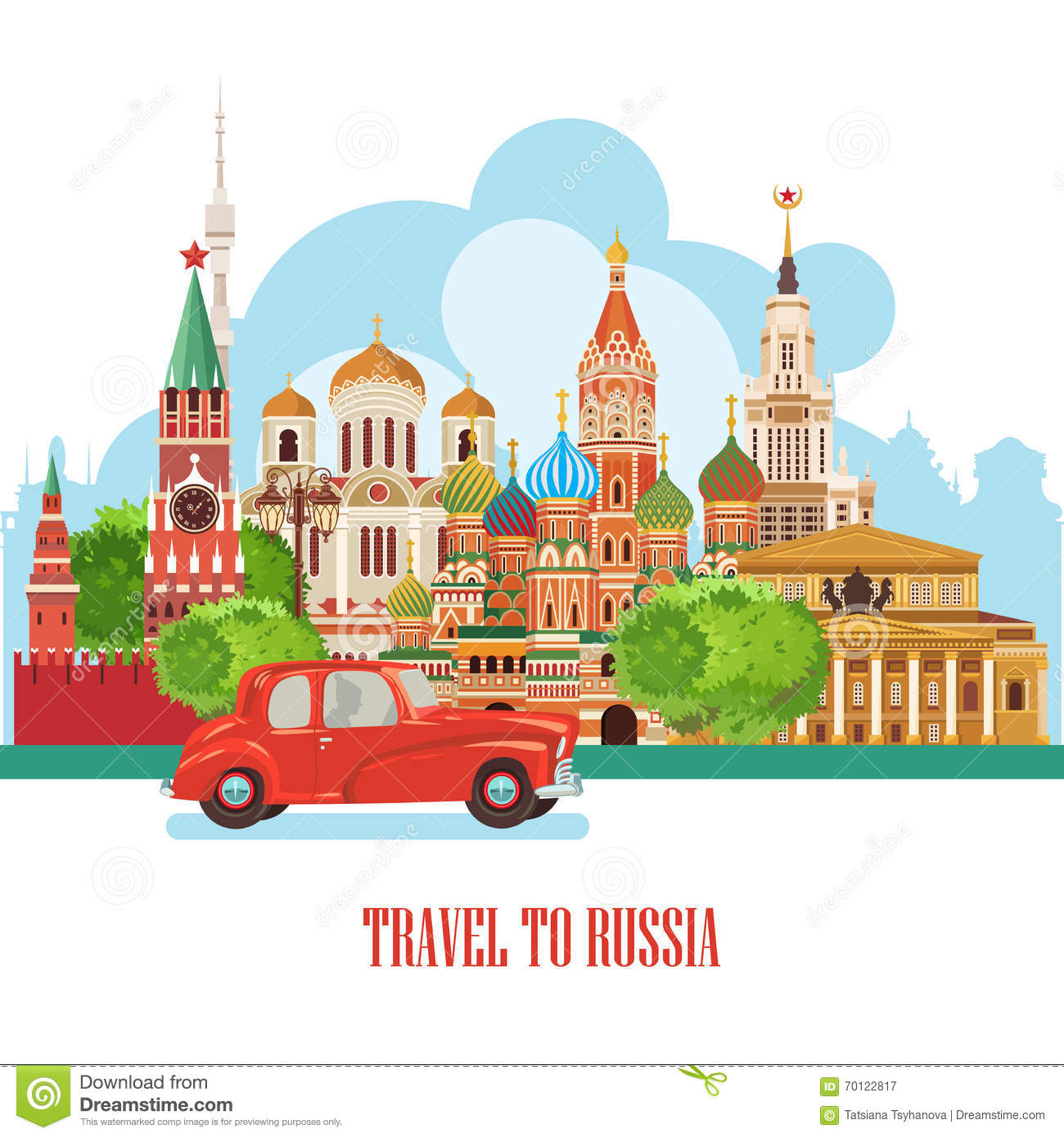Russia Vector Banner Russian Poster With Red Car Travel