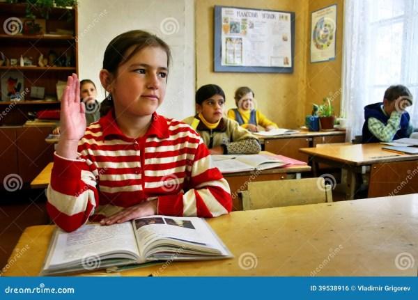 Russian Country School Classroom Schoolgirl Raises