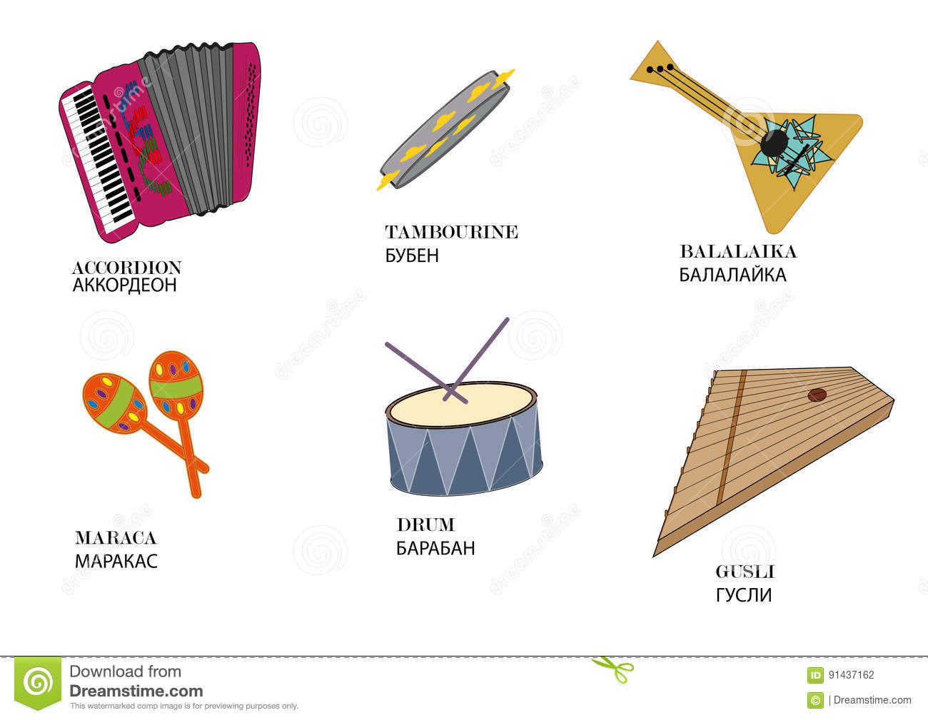 Russian Folk Musical Instruments With The Name Of The