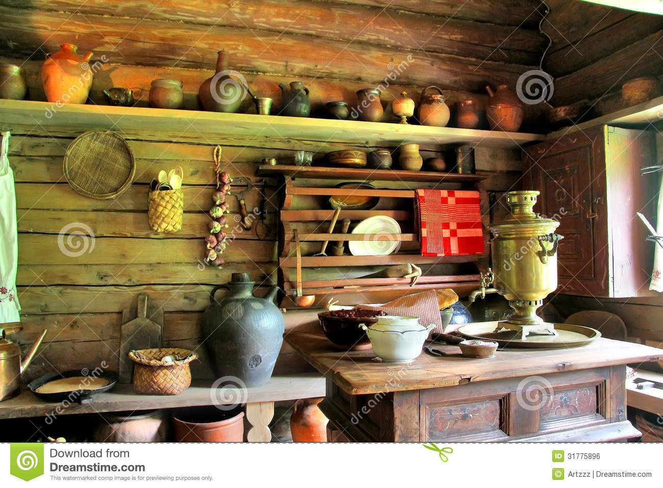 wooden kitchen table light fixtures home depot russian izba stock photo. image of inside, clay, aged ...