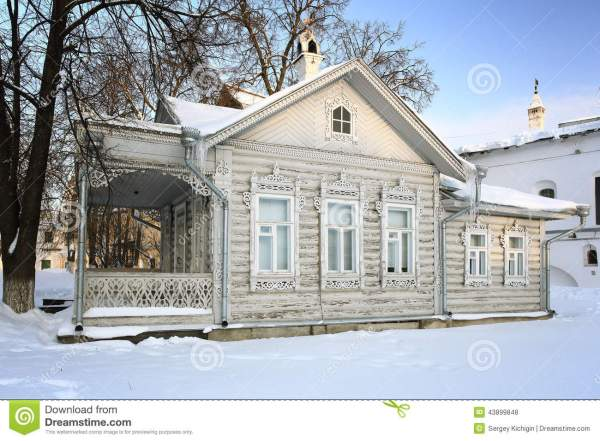 Russian Winter Cotage Traditional House Stock