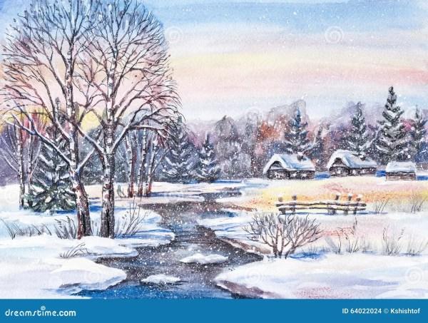 Russian Winter Landscape Stock Illustration - 64022024