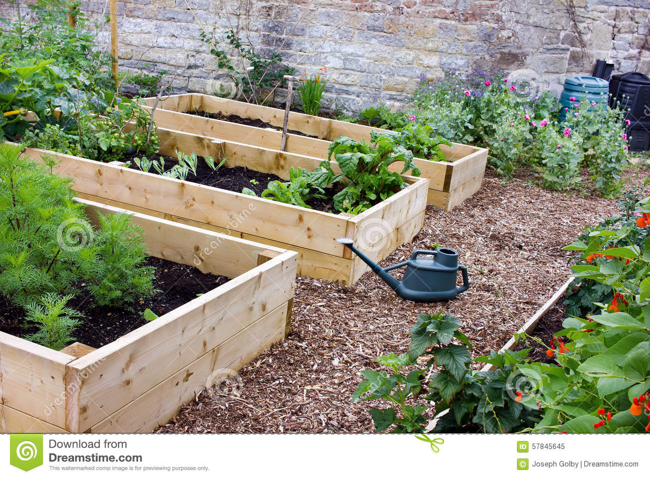 Stock Photo Rustic Country Vegetable Flower Garden Raised Beds Spade Watering Can Composters Countryside Also Flowers Wooden