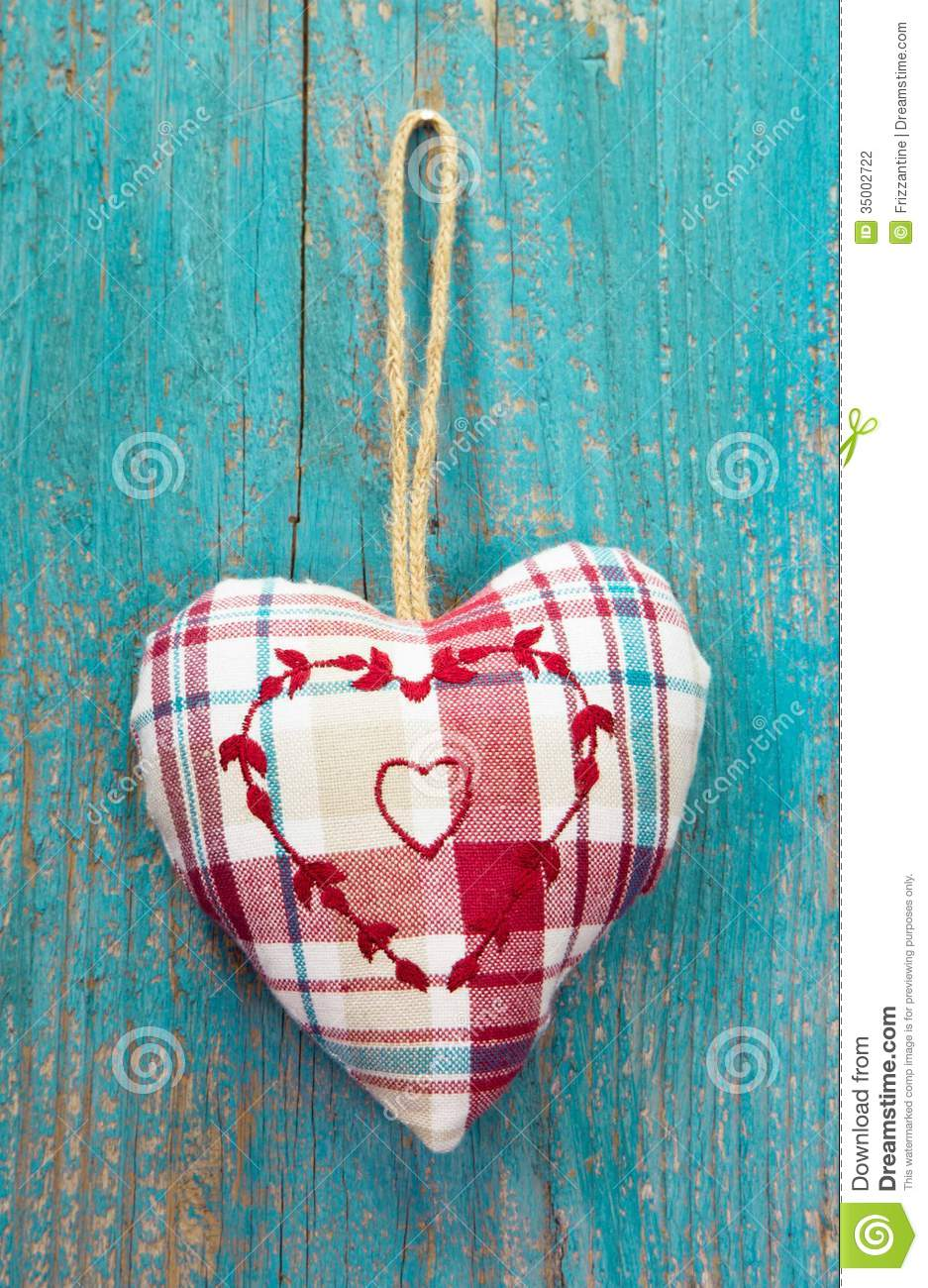 Rustic Heart On Turquoise Wooden Surface For Wedding Birthday Stock Photography  Image 35002722