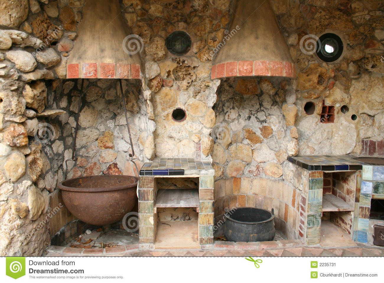 Rustic Old Outdoor Kitchen stock image Image of rock