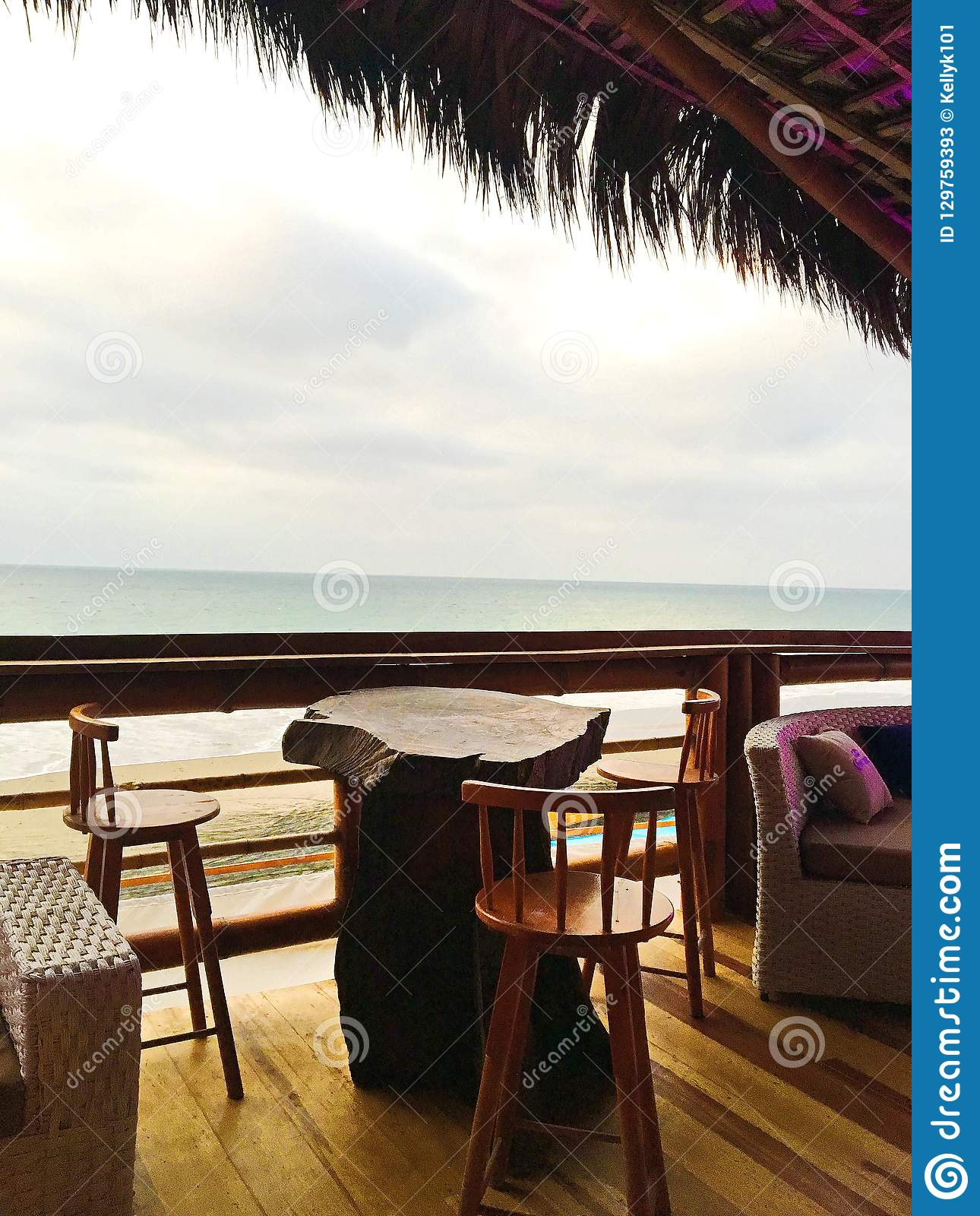 Bar Table With Chairs Rustic Bar Table And Chairs Overlooking The Ocean Stock Image