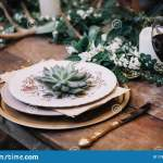 A Table Setting For A Boho Style Event With Rustic Touches Stock Image Image Of Boho Eucalyptus 178121425