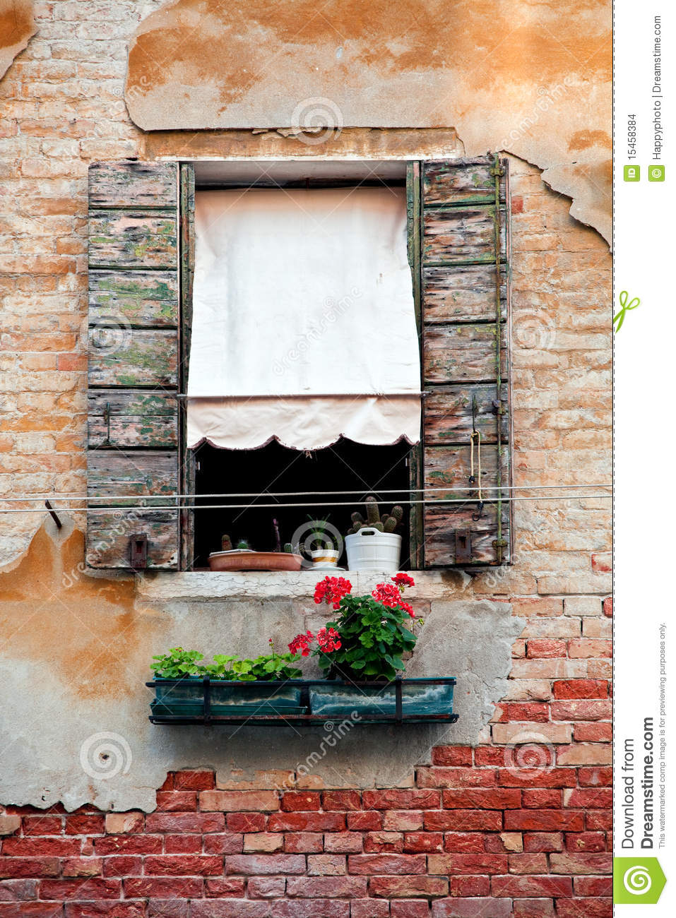 Rustic Window With Shutters In Old Venice House Stock Photo  Image 15458384