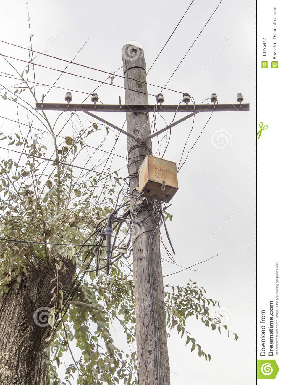 hight resolution of rusty electrical junction box on an old wooden post electric pole wooden pole