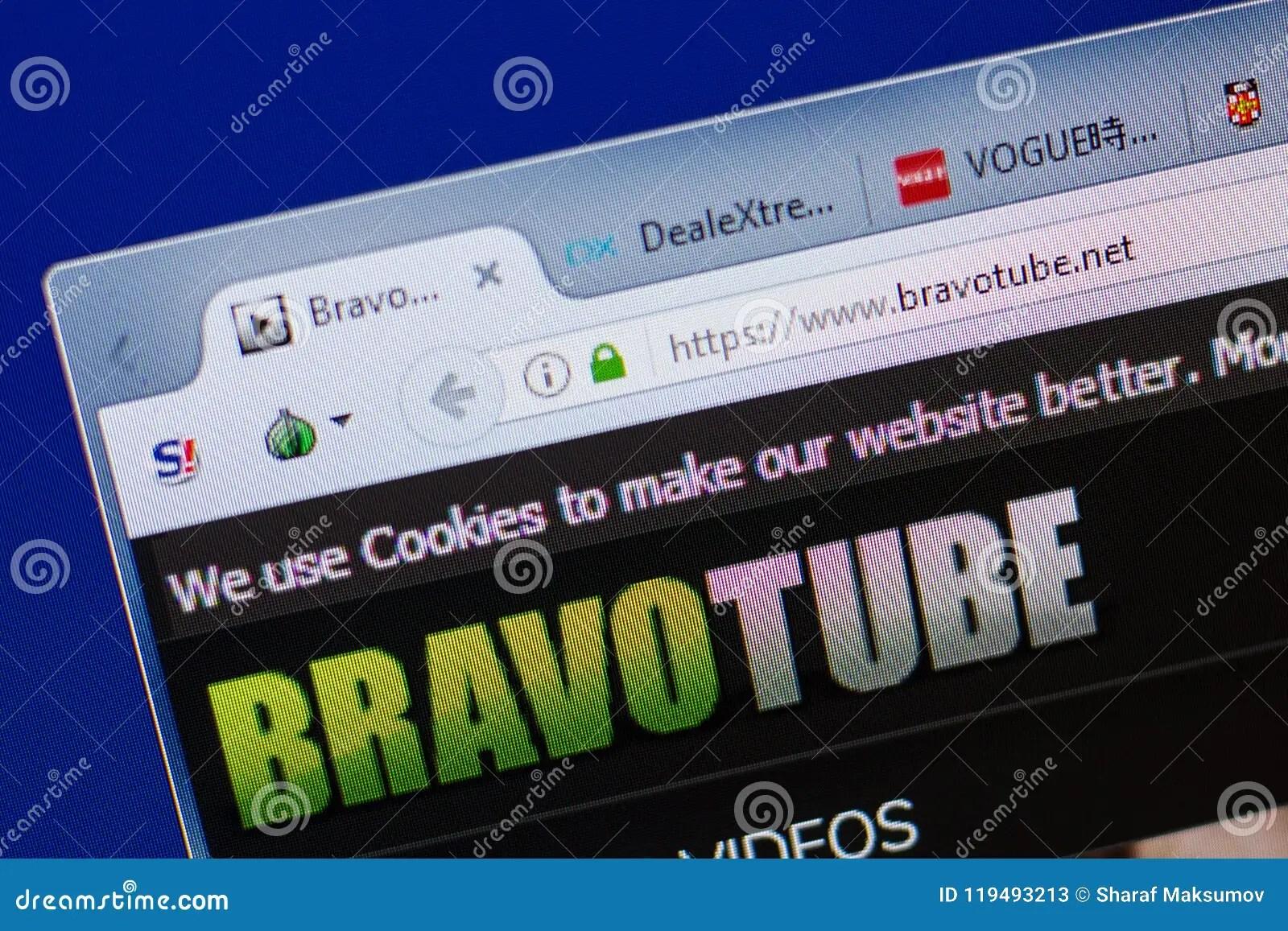 Ryazan Russia June 17 2018 Homepage Of Bravotube Website On The Display Of Pc Url Bravotube Net