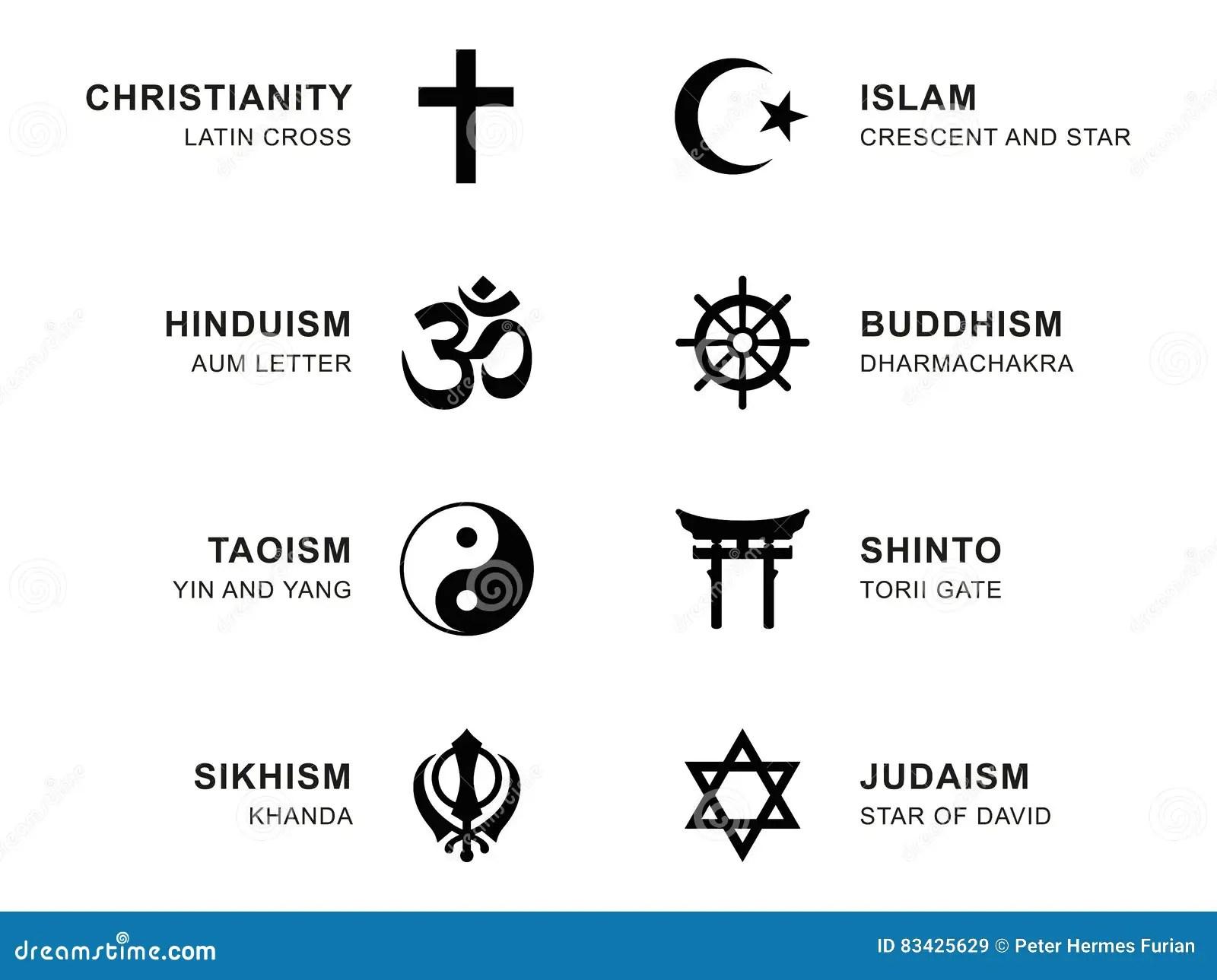 Simbolos De La Religion Del Mundo Con El Etiquetado Ingles