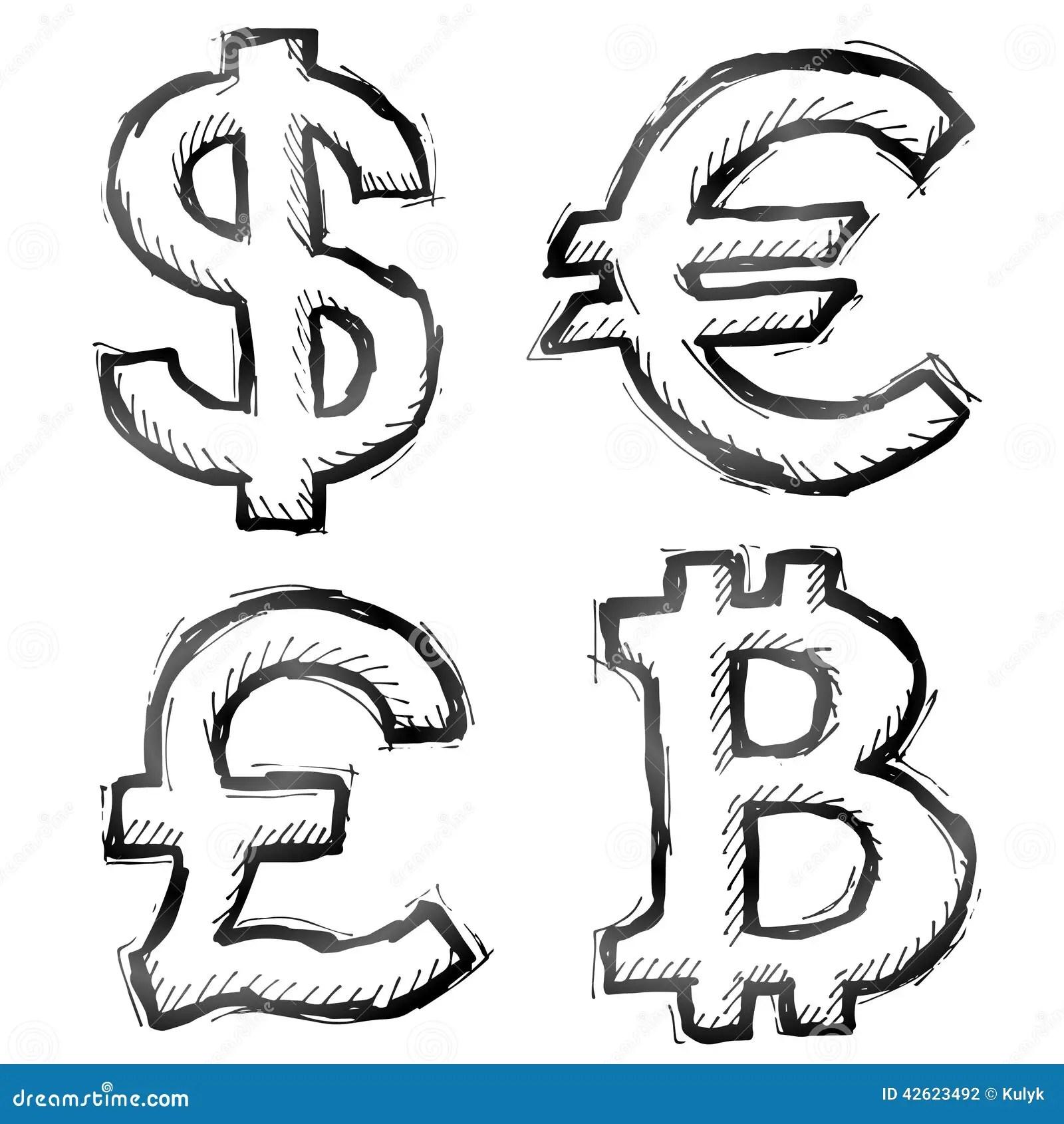 Simbolos Tirados Mao Do Dinheiro Ilustracao Do Vetor