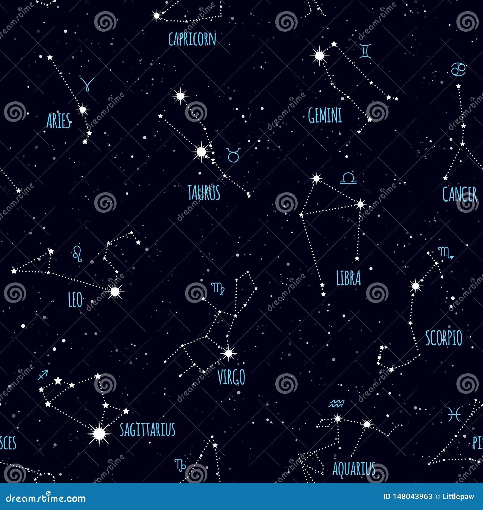 Zodiac Seamless Pattern Space Star Constellations