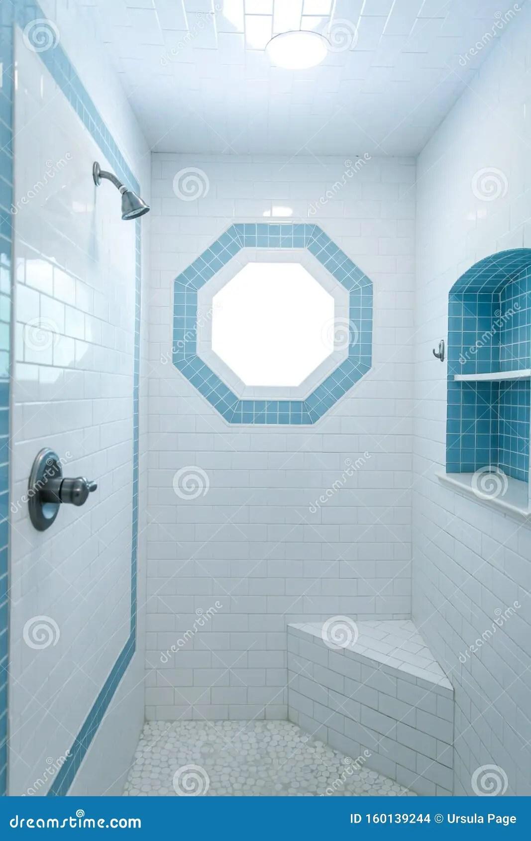 https www dreamstime com s style bathroom shower tile floor white tile walls blue tile accents octogon accent window seat bench image160139244