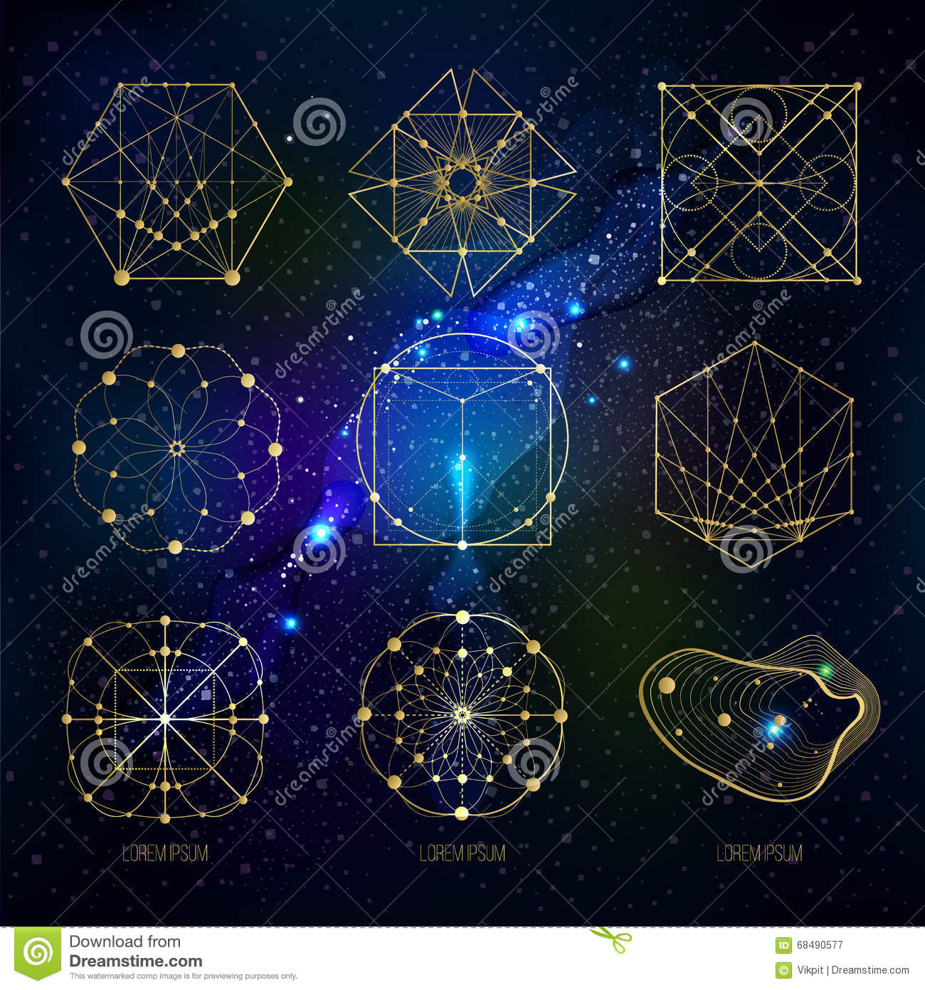 Sacred Geometry Forms On Space Background Stock Vector
