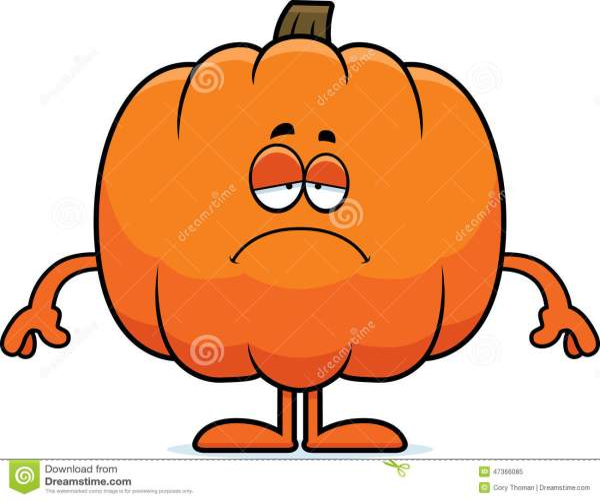 sad cartoon pumpkin stock vector