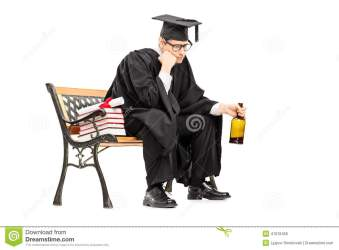 sad college graduate alcohol drinking seated bench isolated background