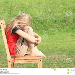 Chair For Toddler Girl Best Chairs Inc Glider Sad Sitting On Stock Image Of Emotional 40313429 Kid Wooden Green Meadow