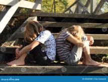 Sad Girls Sitting Stairs Stock - 45840588