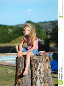 Sad Little Girl Waiting Stock Of Outdoor