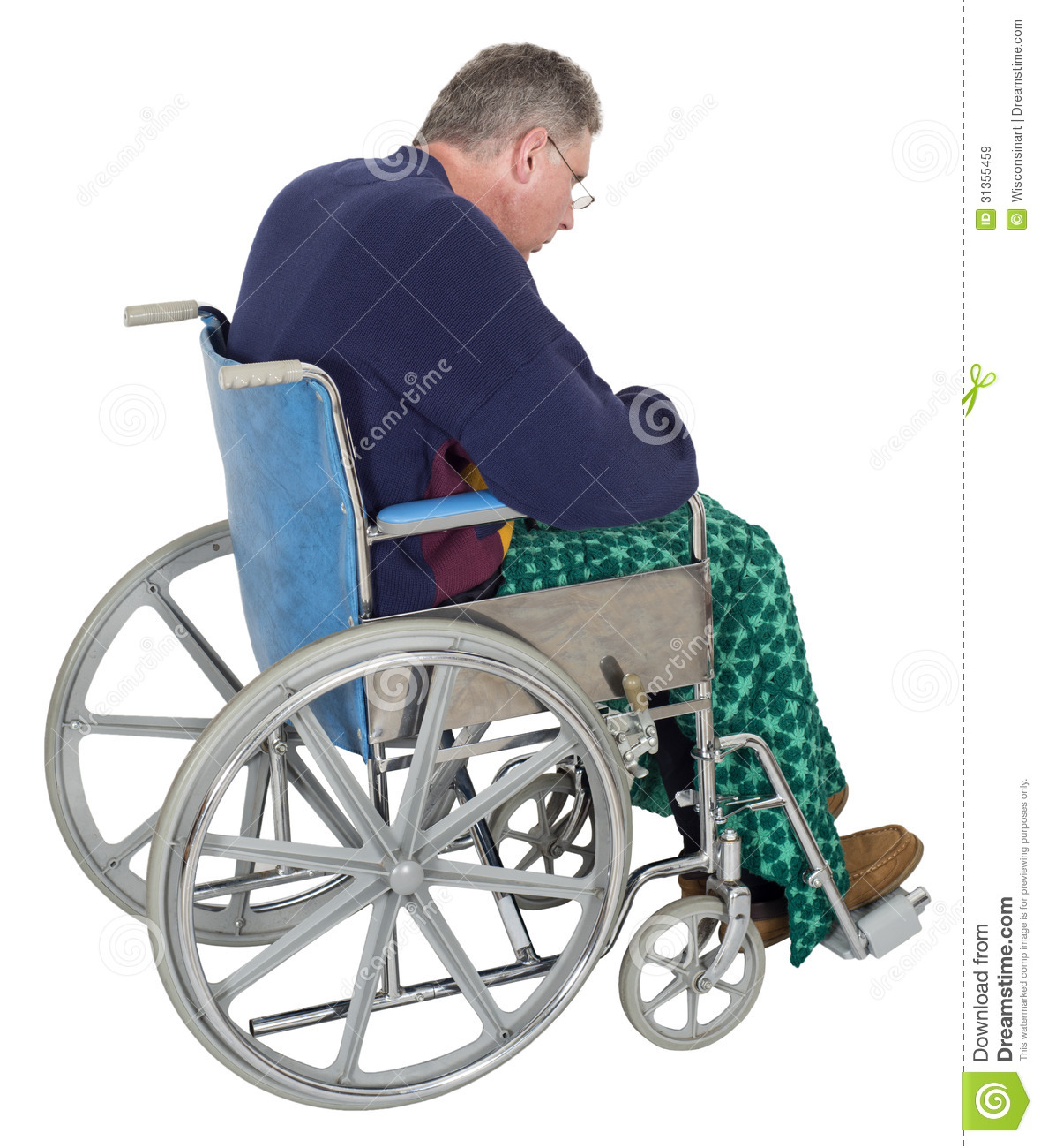 wheelchair man swivel chair for baby sad lonely senior elderly stock image