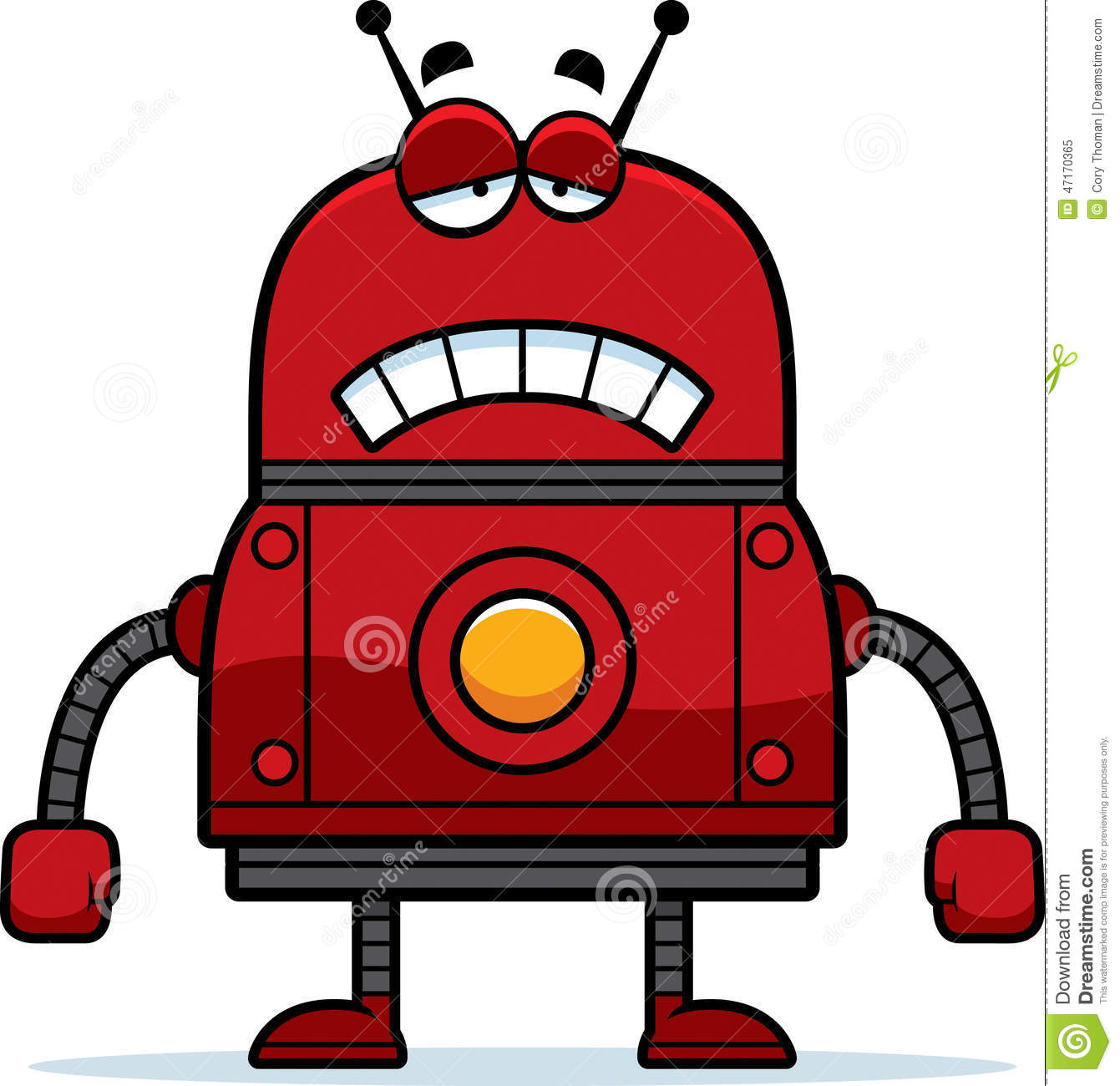 Sad Red Robot Stock Vector Illustration Of Cartoon