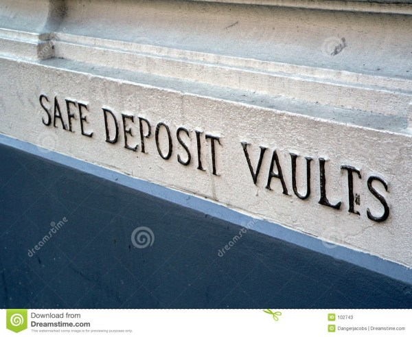 Safe Deposit Vaults Sign Bank Stock - 102743