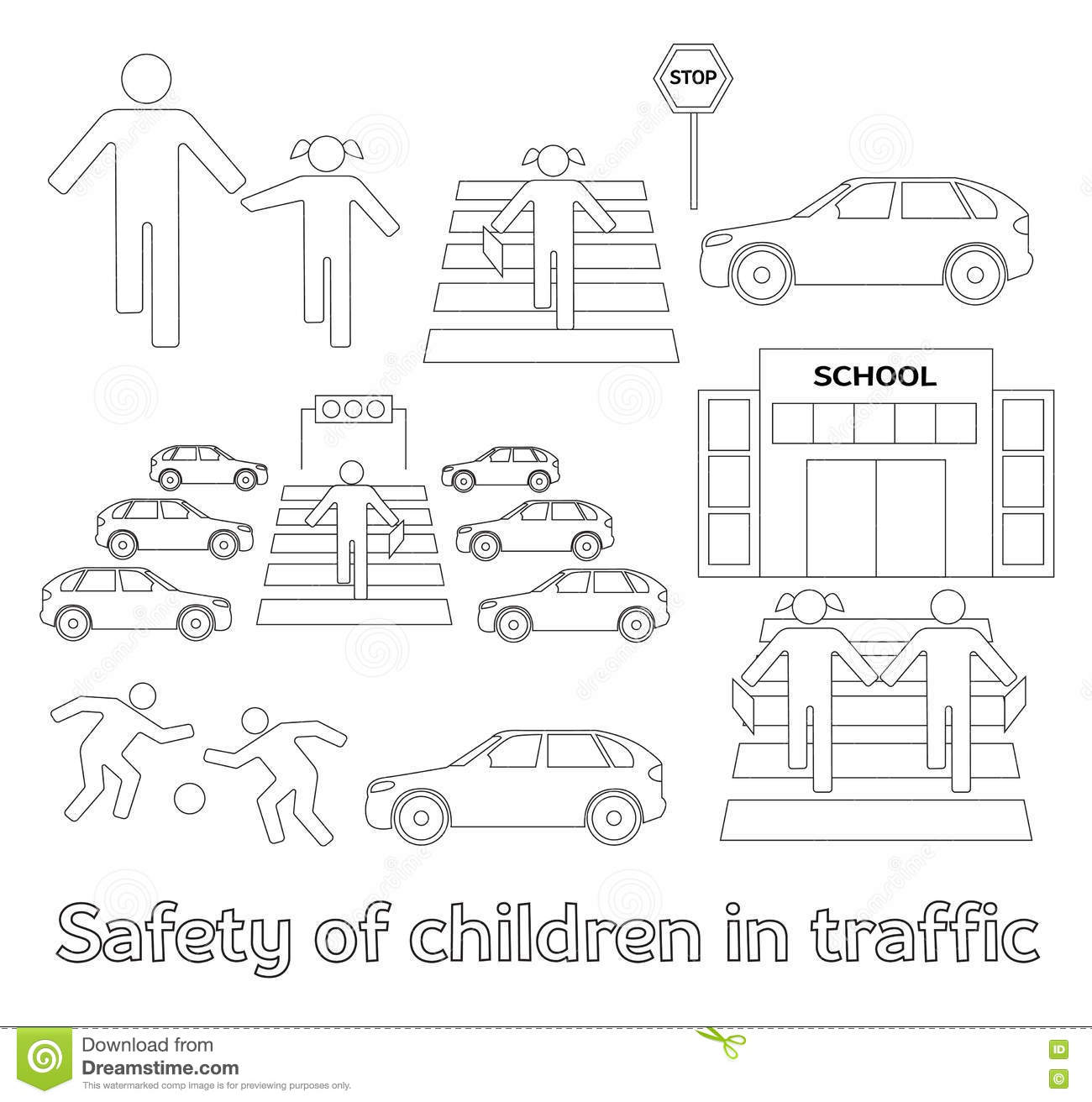 Safety Of Children In Traffic Stock Vector