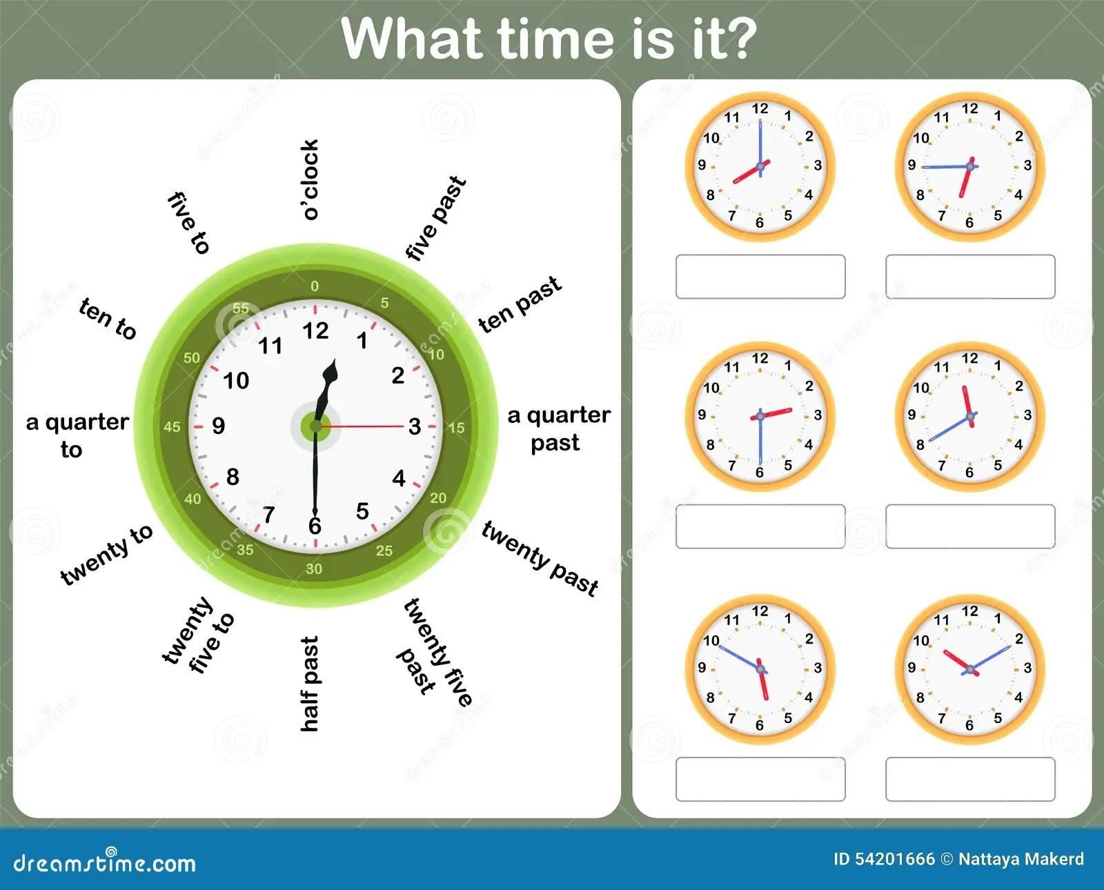 Sagen Des Zeitarbeitsblattes Schreiben Sie Zeit