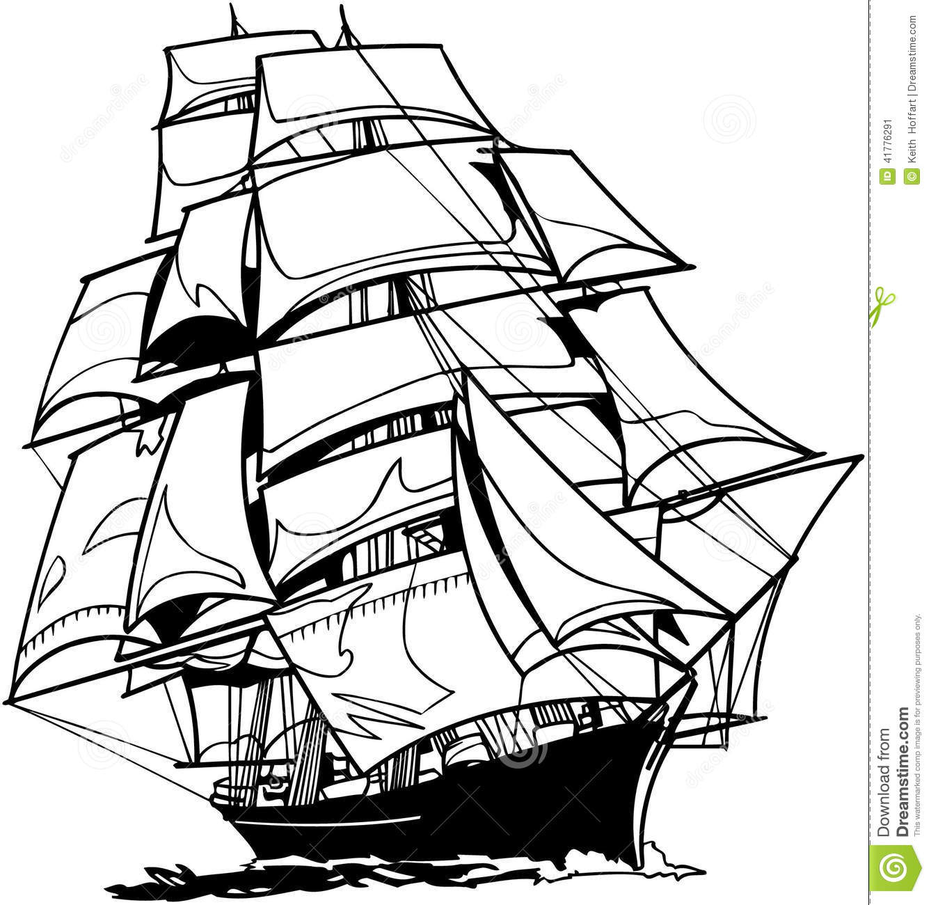 Sail Boat In Ocean Vector Clipart Stock Vector