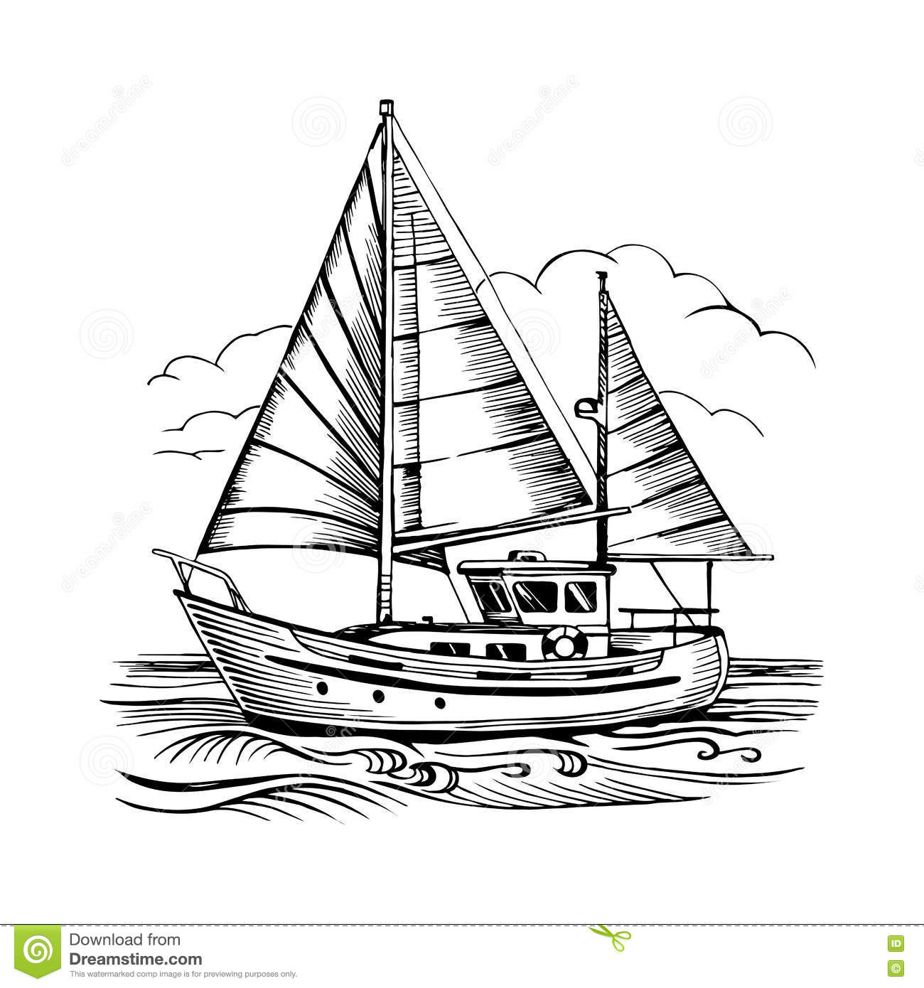 Sailing Boat Vector Sketch Isolated With Clouds And