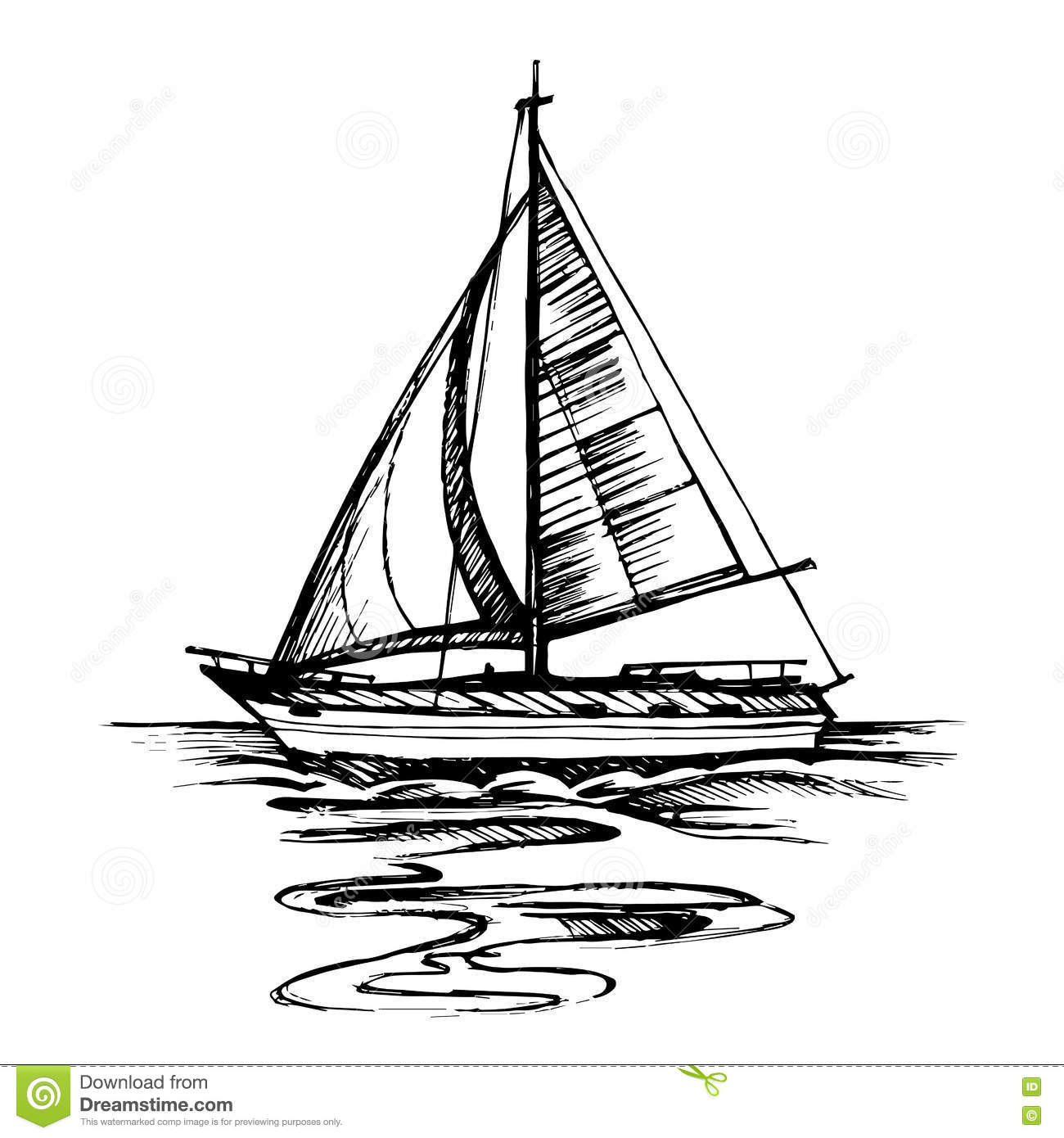 Sailing Boat Vector Sketch Isolated With Reflection Stock