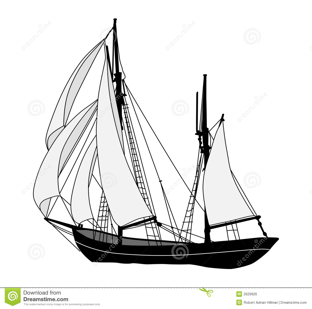 Sailing Ship Stock Vector Illustration Of Yacht Schooner