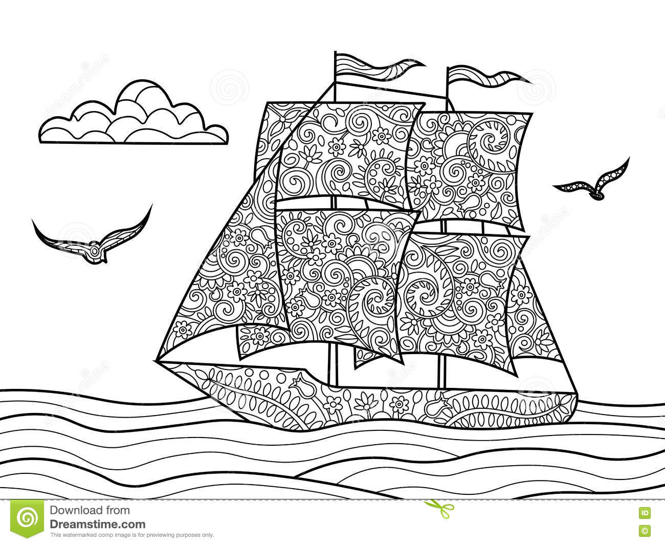 Vector Abstract Doodle Illustration Of A Sea Ship. Cartoon