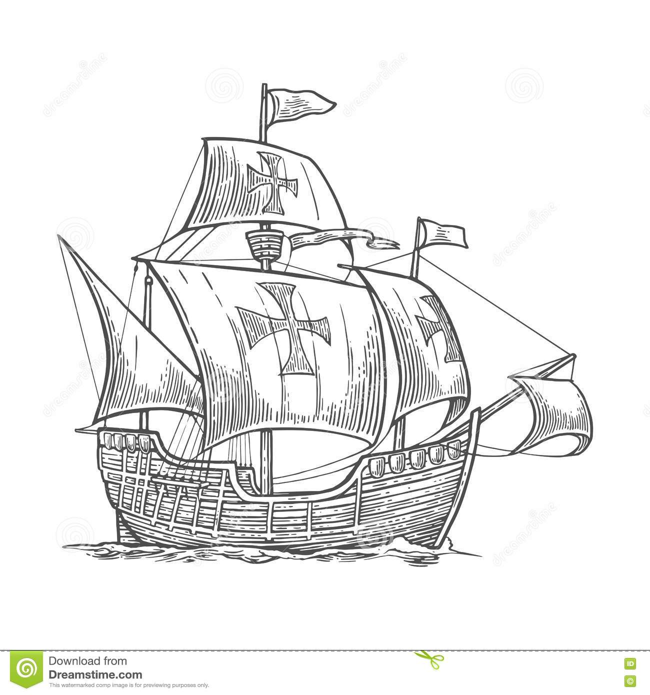 Sailing Ship Floating On The Sea Waves Caravel Santa
