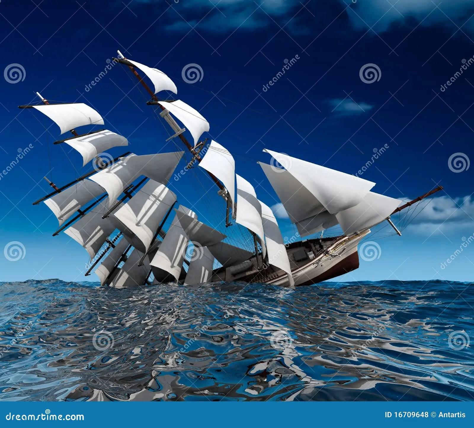 Sailing Ship Sinking Royalty Free Stock Photos
