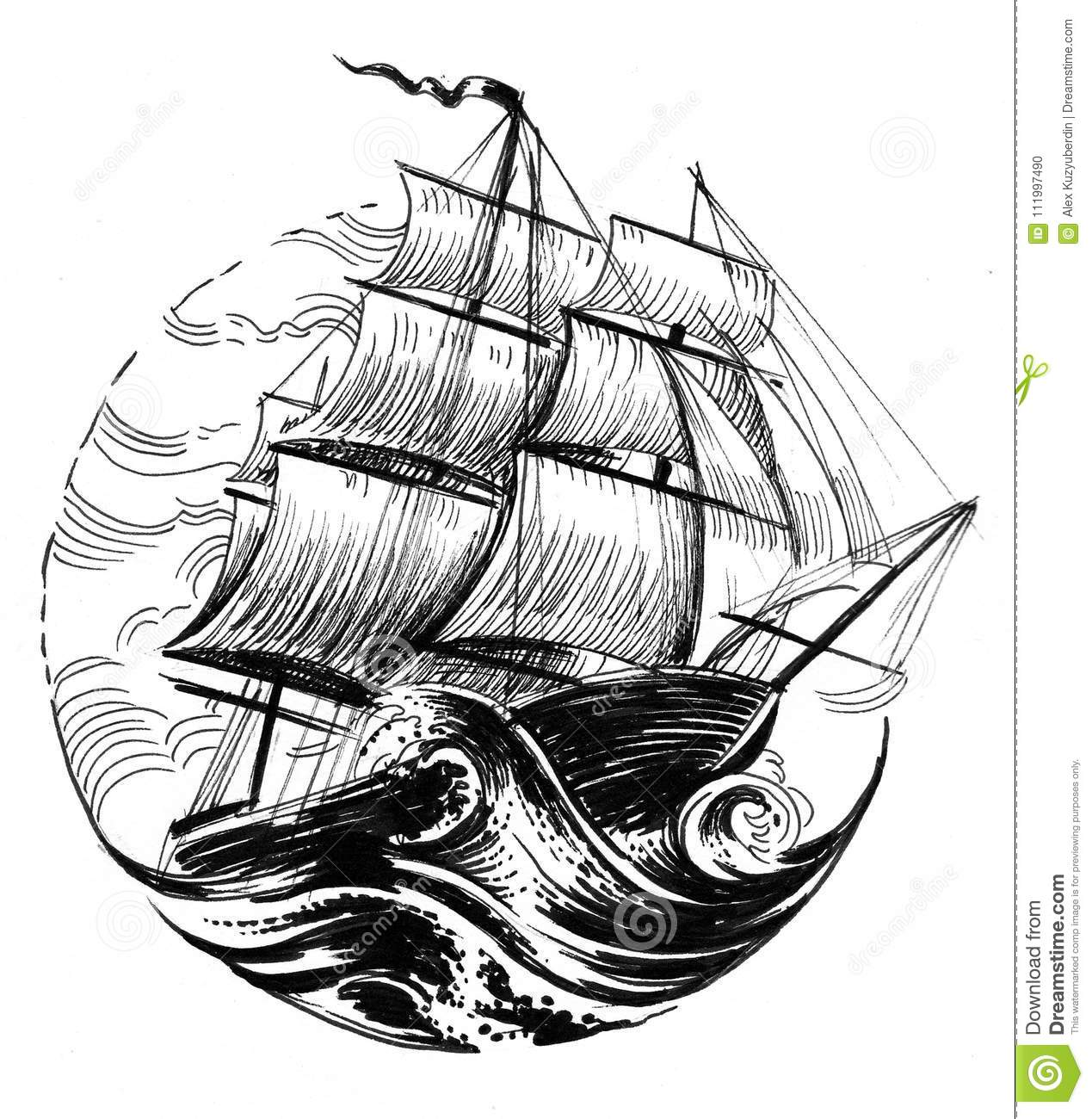Ship Stormy Sea Stock Illustrations 356 Ship Stormy Sea