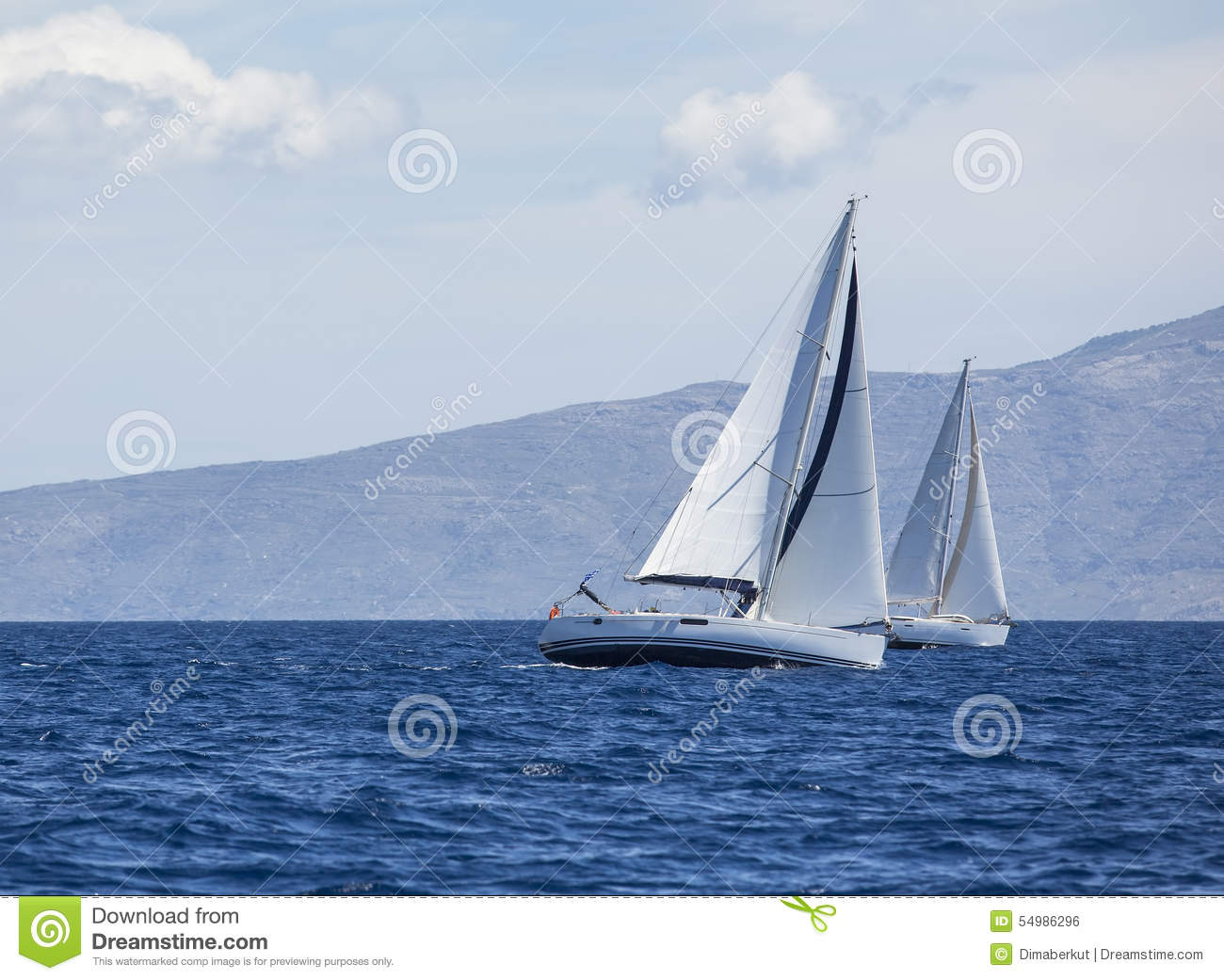Sailing In The Wind Through The Waves At The Aegean Sea In