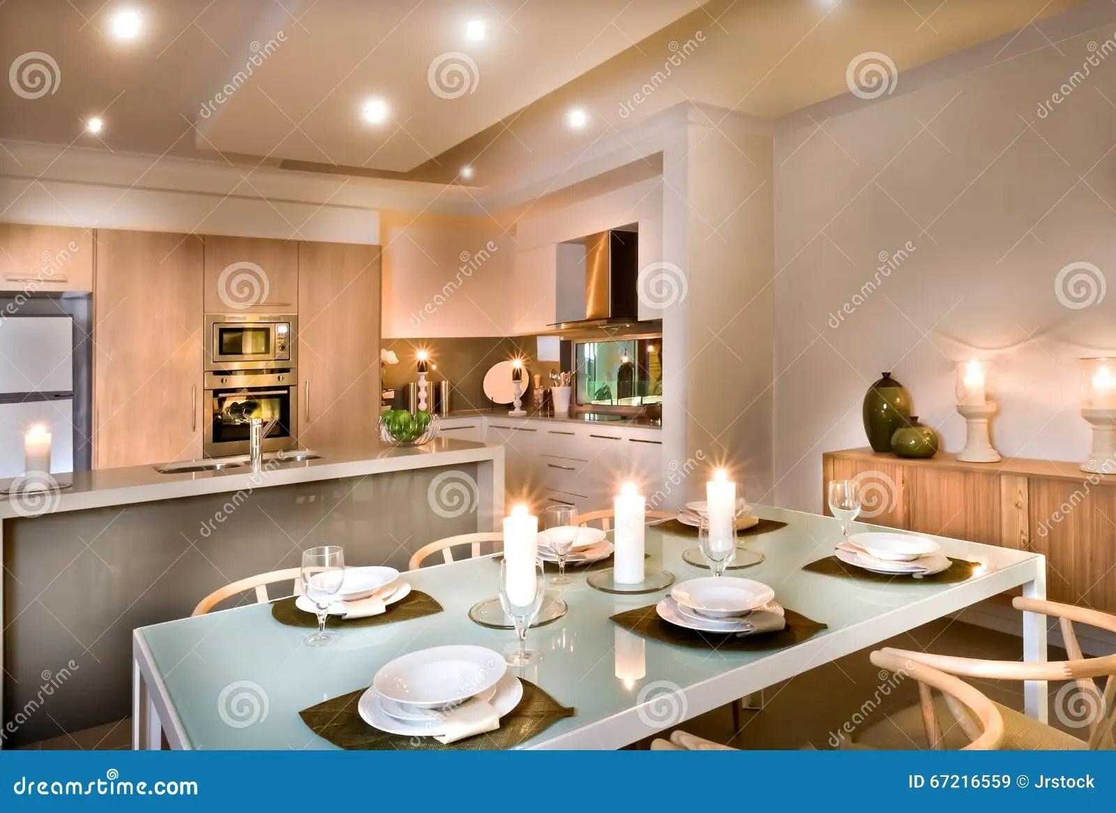 Sala Da Pranzo Moderna E La Cucina Immagine Stock  Immagine di foglio decorazione 67216559