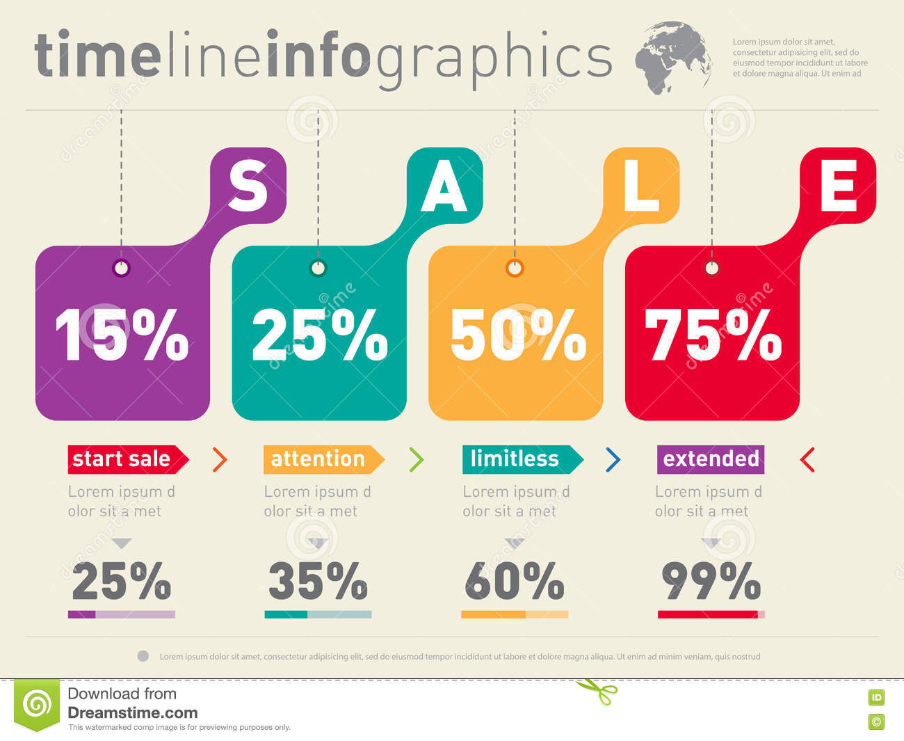 Sale Infographic Time Line Advertising Web Template Timeline O Stock Vector Illustration Of