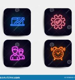 neon set of sales diagram service and couple icons alarm clock sign sale growth chart cogwheel gear two male users time neon icons  [ 1600 x 1383 Pixel ]