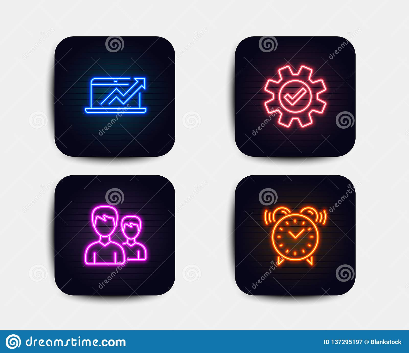 hight resolution of neon set of sales diagram service and couple icons alarm clock sign sale growth chart cogwheel gear two male users time neon icons