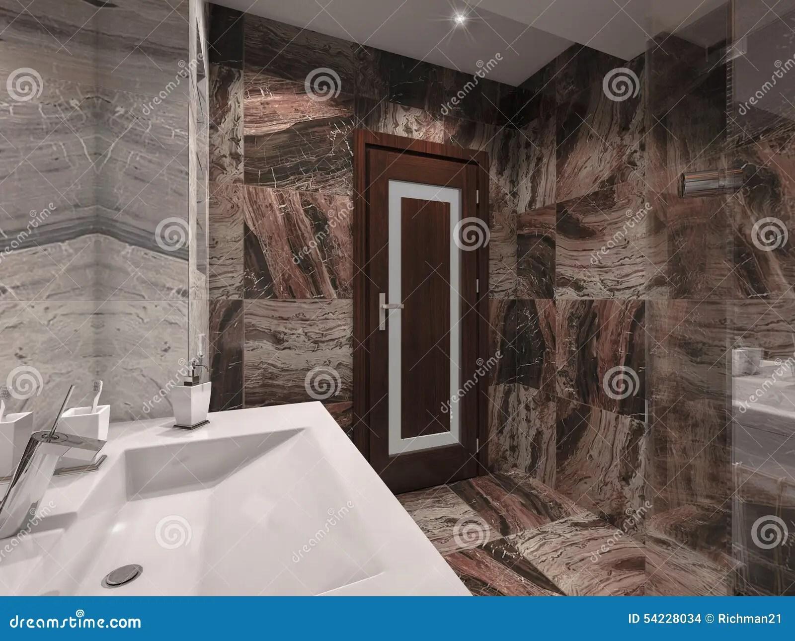 salle de bains de l illustration 3d dans la pierre grise et brune avec le bain blanc illustration stock illustration du moderne bougie 54228034