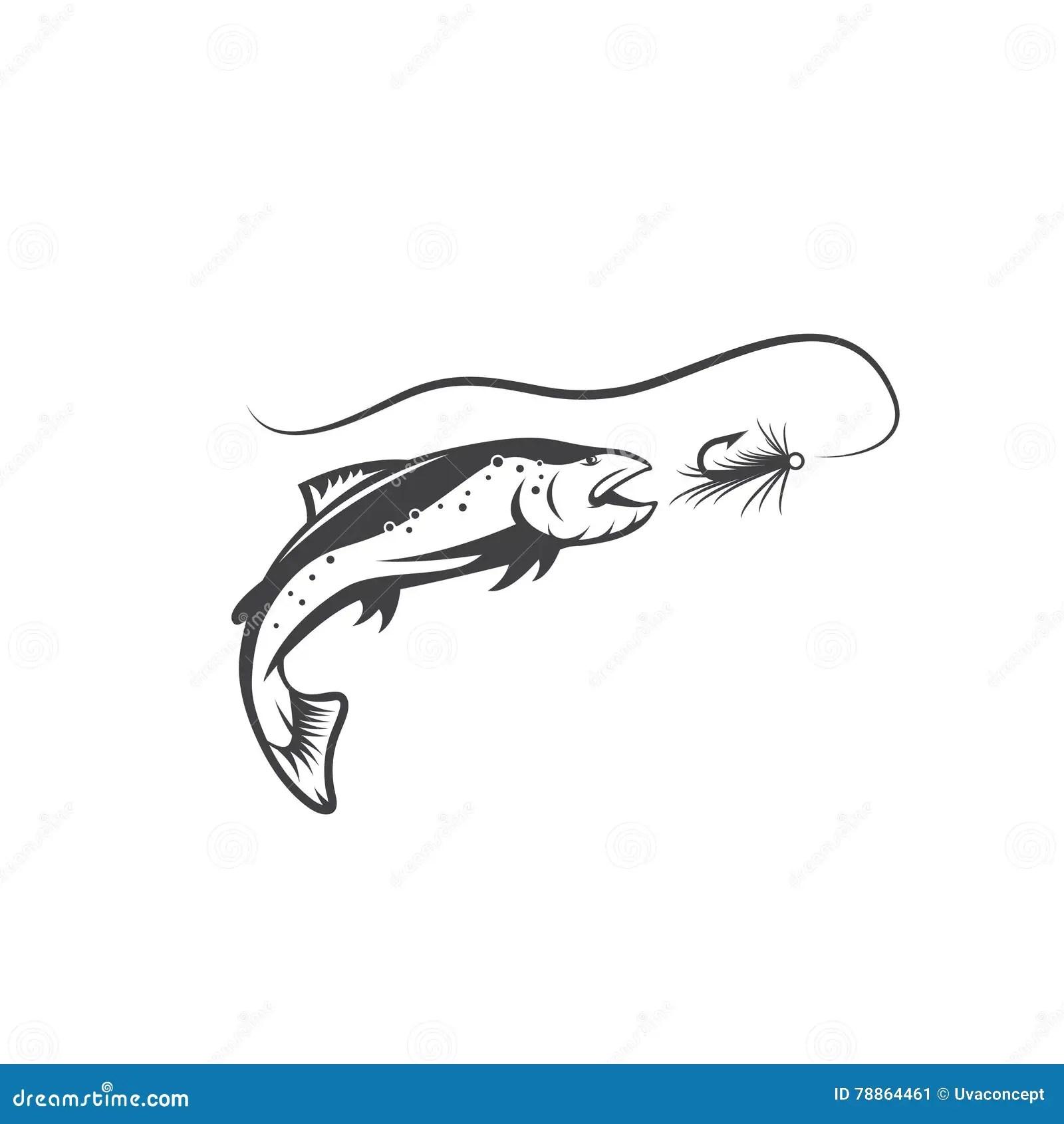 Salmon Fish And Lure Vector Design Stock Vector