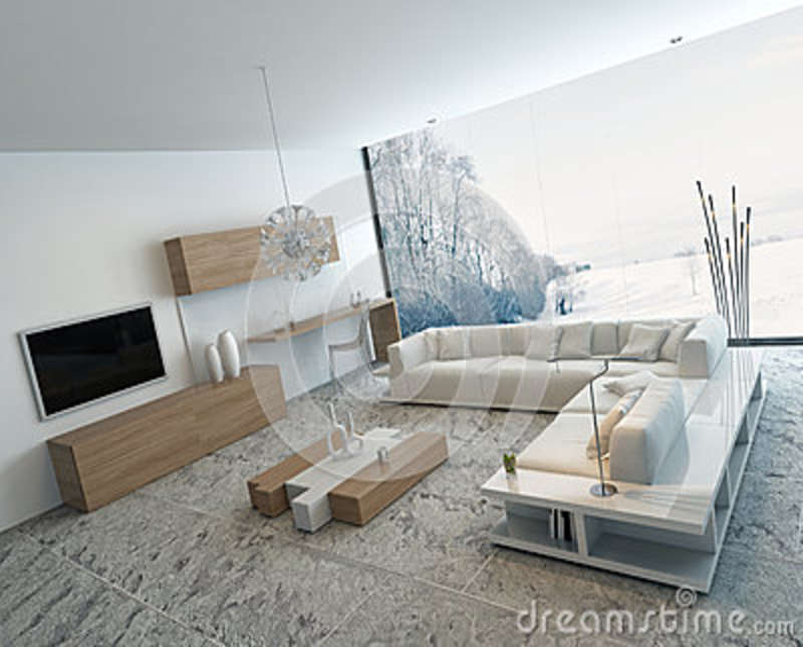 https fr dreamstime com illustration stock salon blanc moderne les meubles en bois image41133517