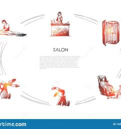 salon massage of back and foot hairdressing solarium and salon reception vector concept [ 1600 x 1155 Pixel ]