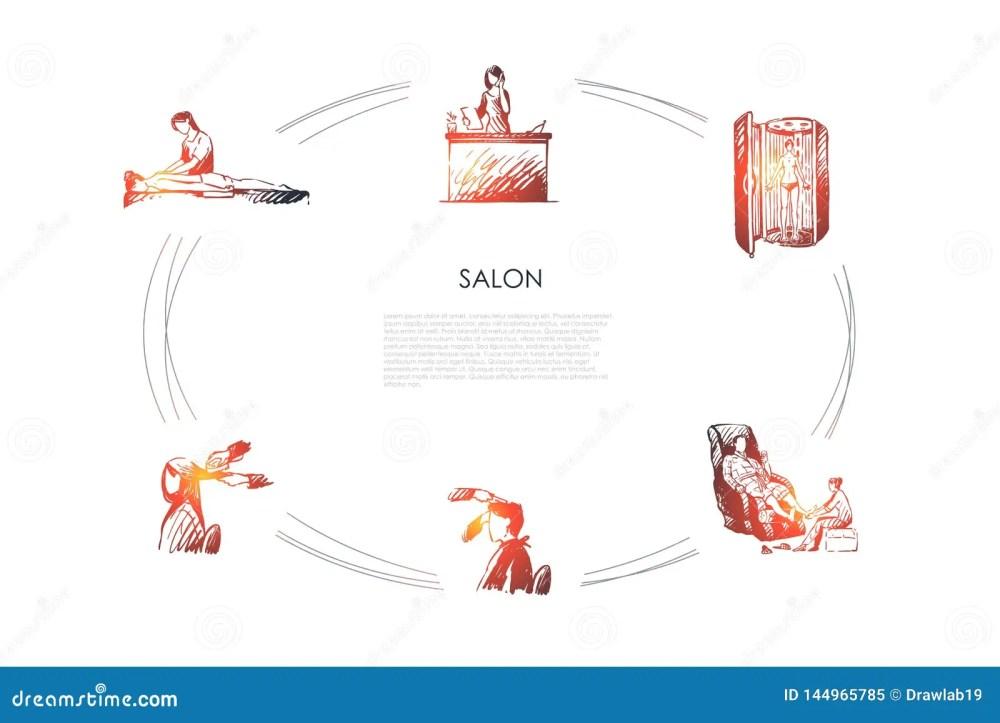 medium resolution of salon massage of back and foot hairdressing solarium and salon reception vector concept