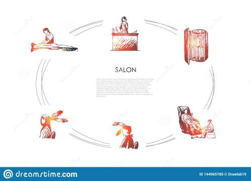 small resolution of salon massage of back and foot hairdressing solarium and salon reception vector concept
