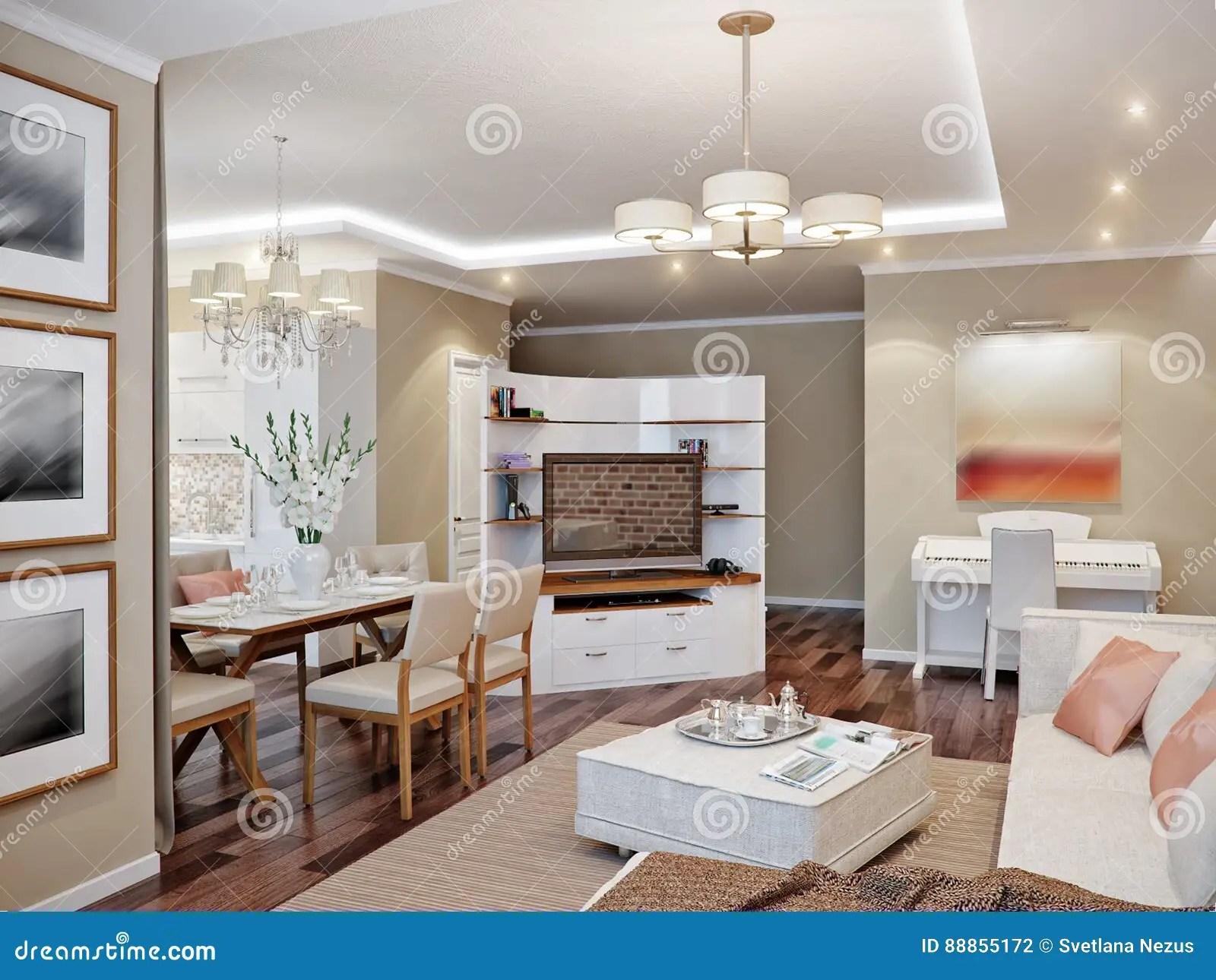 Salone Cucina E Sala Da Pranzo Moderni Illustrazione di Stock  Illustrazione di classico